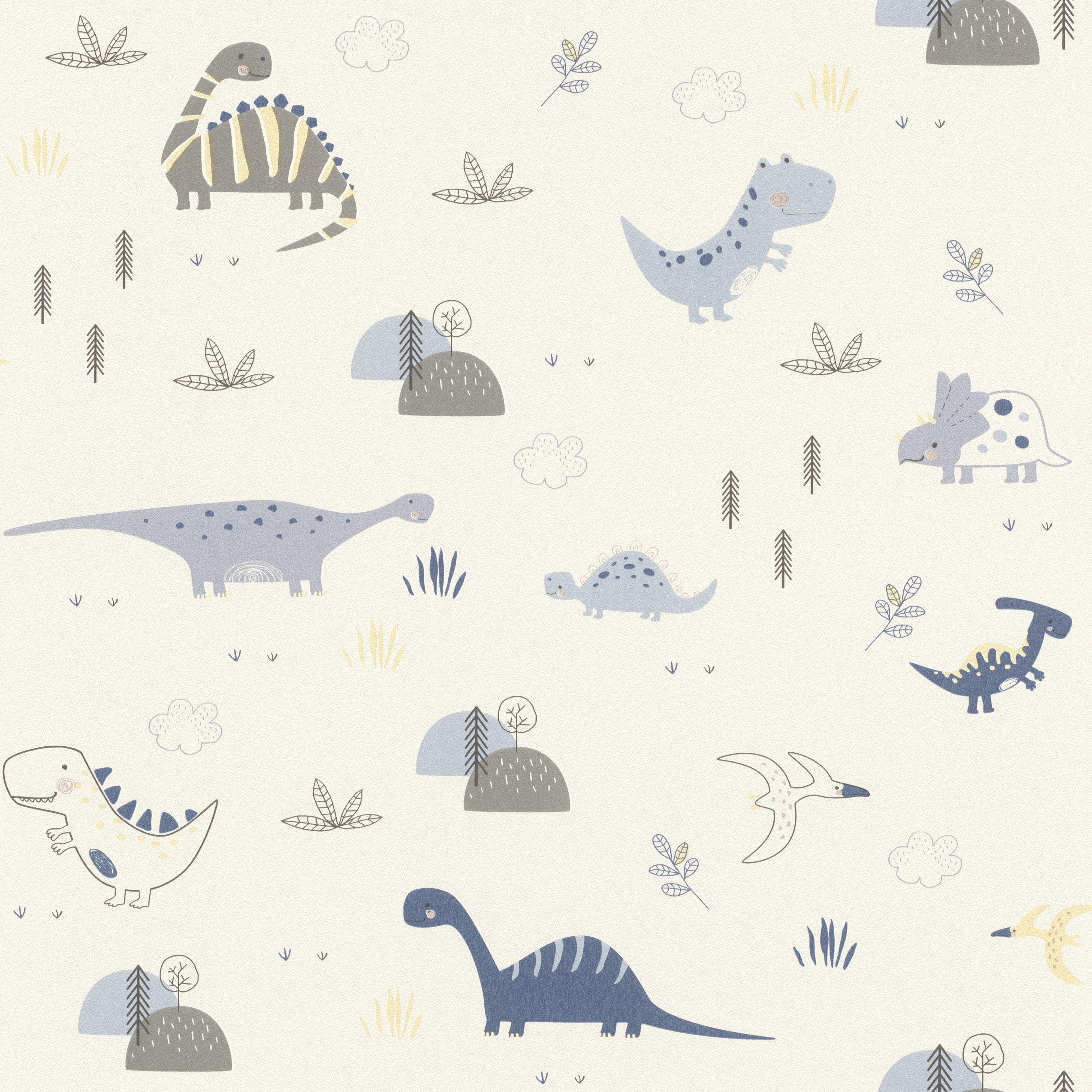 Vidám világos színű dinós gyerek tapéta