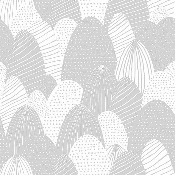 Világos szürke rajzolt hegy mintás gyerek tapéta