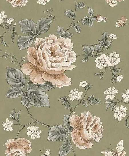 Világosbarna alapon romantikus rajzolt virágmintás dekor tapéta