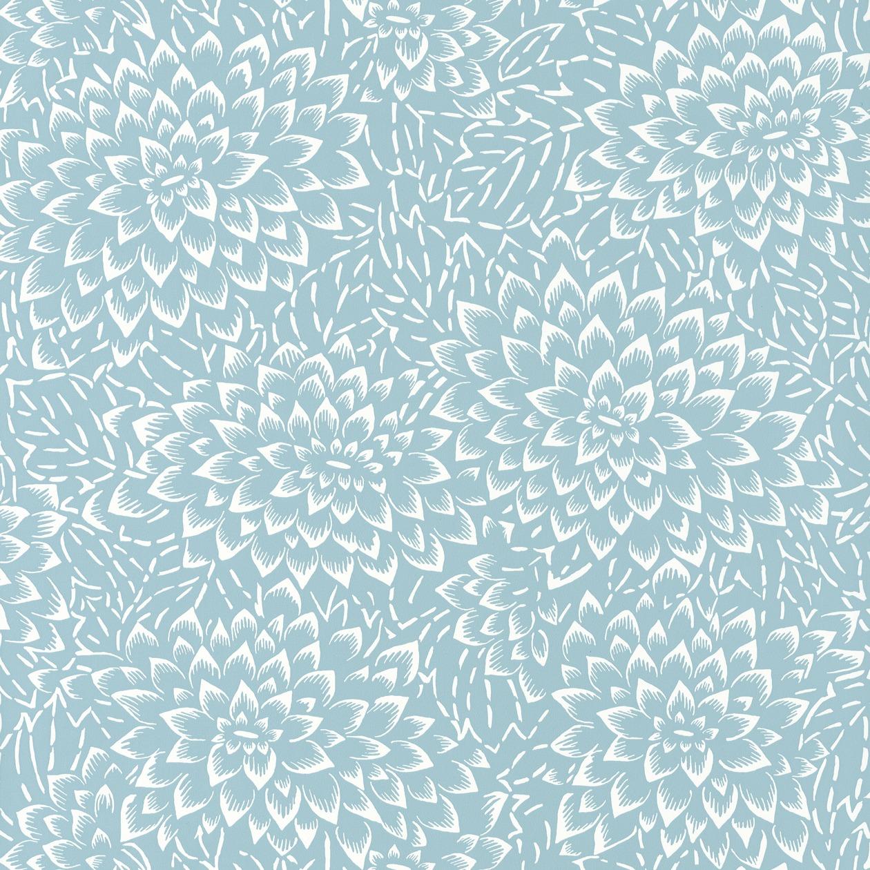 Világoskék lotuszvirág mintás tapéta, japán stílusban