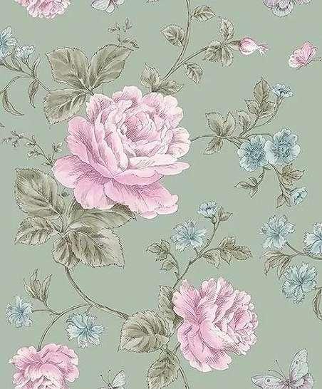 Világoskék rózsaszín rajzolt rozsa mintás romantikus tapéta