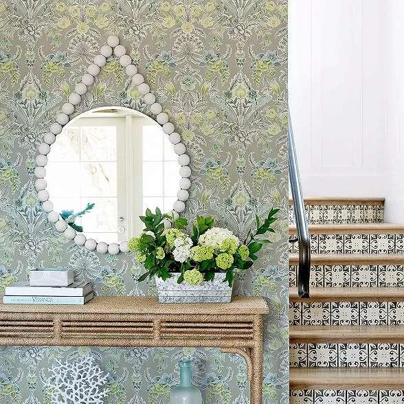Világosszürke vintage virágmintás vlies prémium dekor tapéta