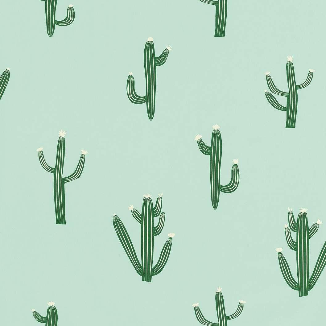 Világoszöld kaktusz mintás tapéta