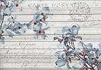 Vintage fali poszter deszka alapon kék virágmintával