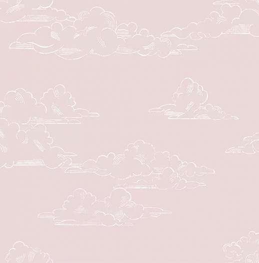 Vintage gyerekszobai tapéta rajzolt felhő mintával rózsaszín színben
