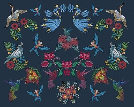 Vintage hangulatú madár és kalocsai virágmintás vlies fali poszter
