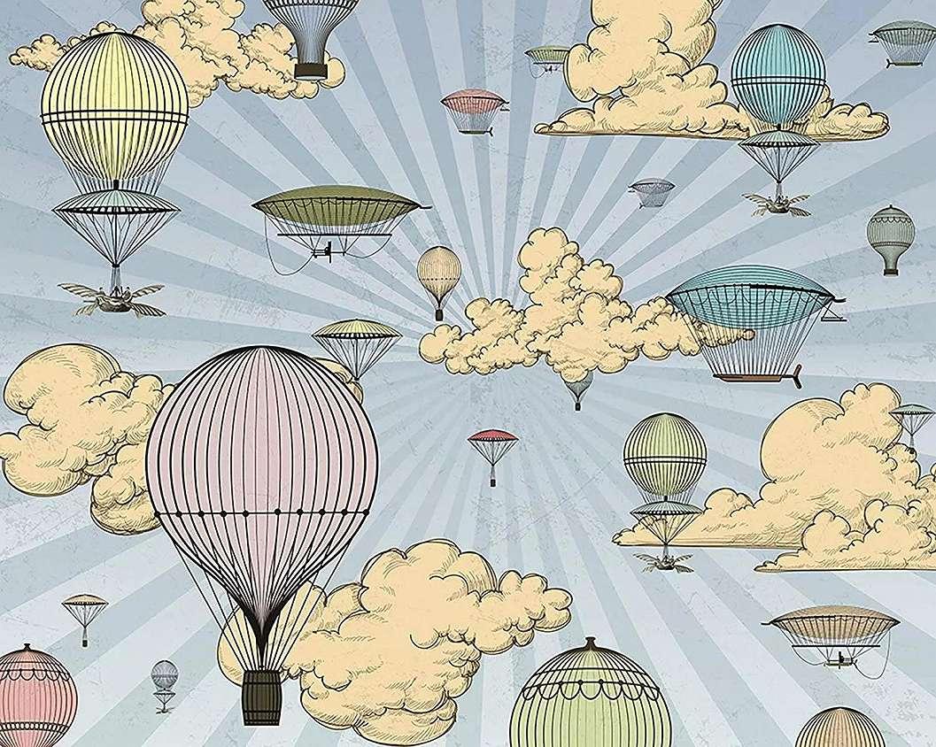 Vintage légballon mintás vlies fali poszter
