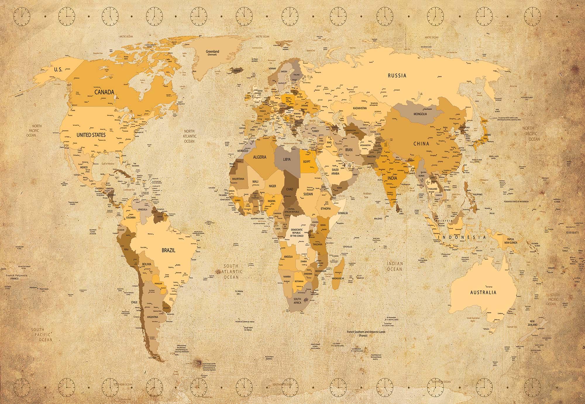 Vintage stílusú világtérkép fali poszter
