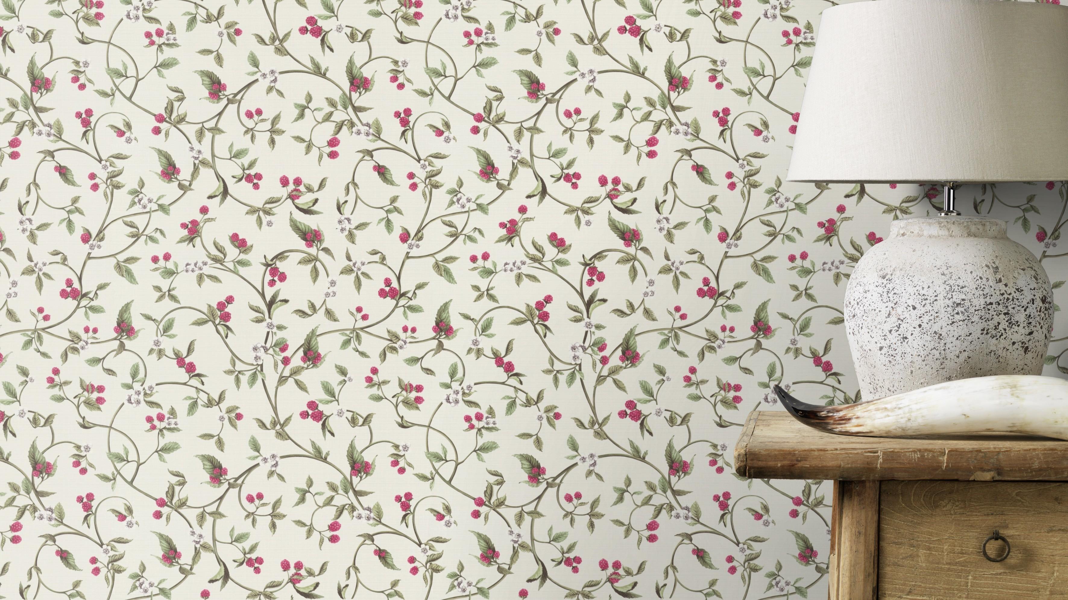 Vintage tapéta apró málna mintákkal