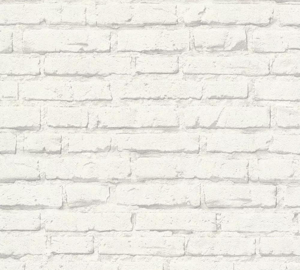 Vinyl felületű fehér téglamintás tapéta