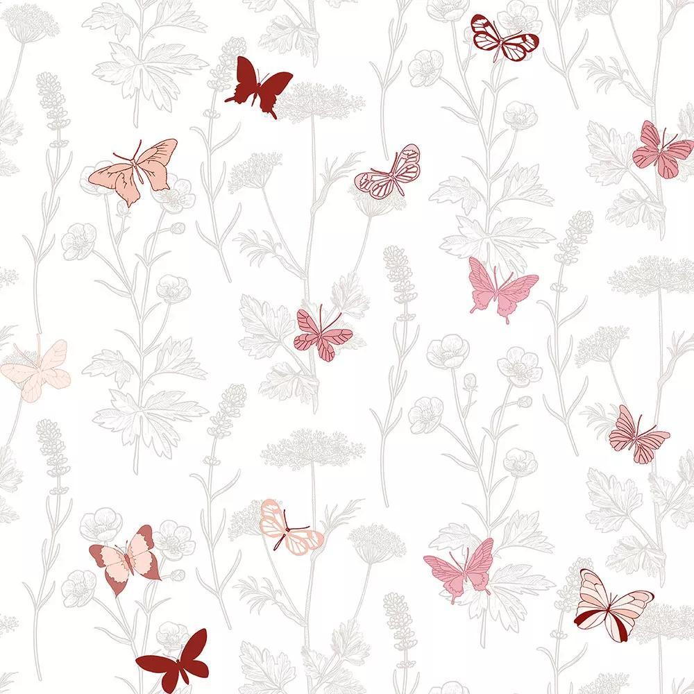 Virág és pillangó mintás vlies tapéta rózsaszín pillangó mintával