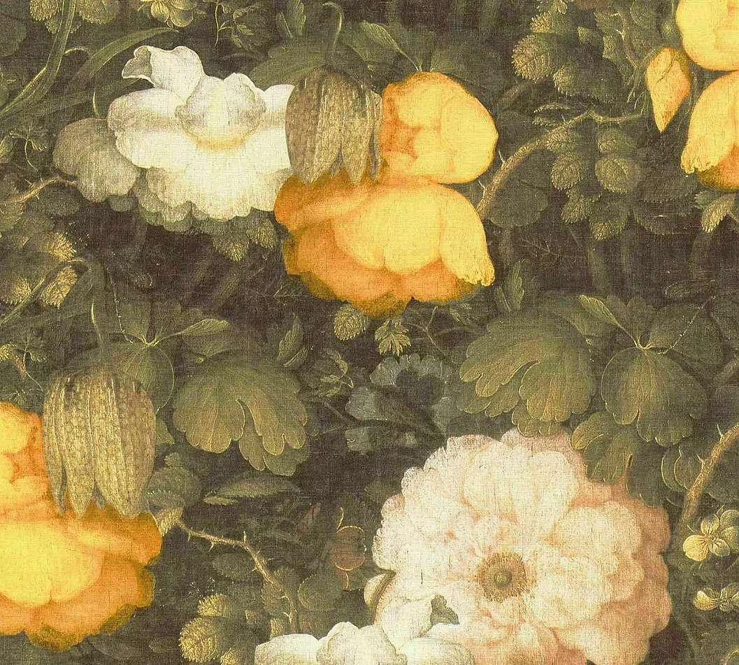 Virág mintás klasszikus stílusú tapéta sárgás színvilágban