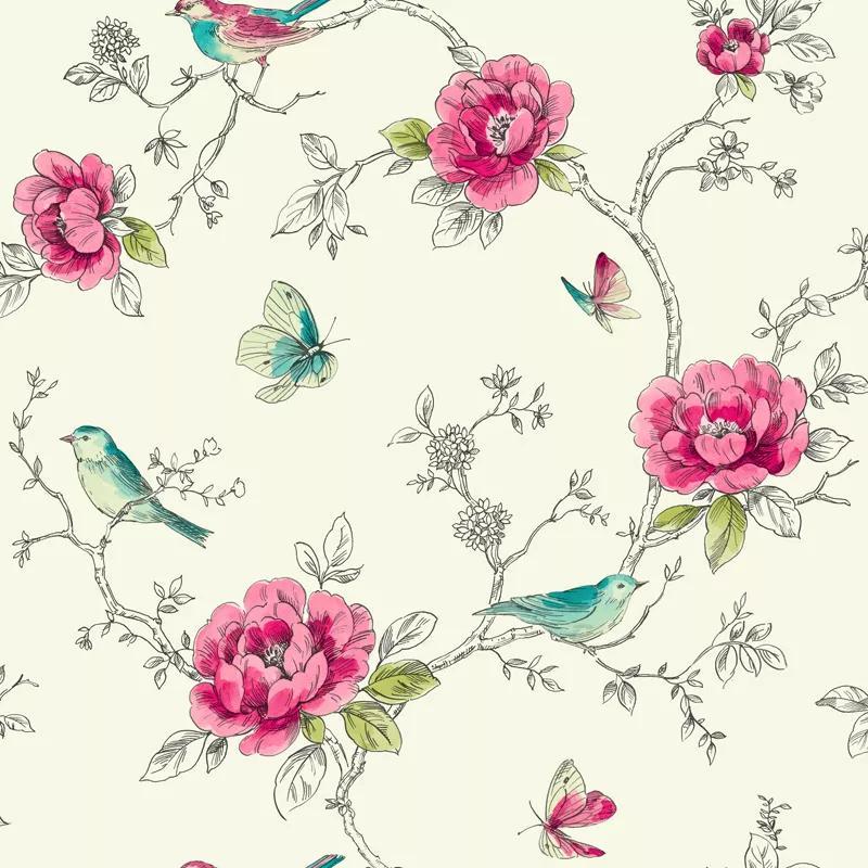Virág mintás tapéta színes virág és madár mintával