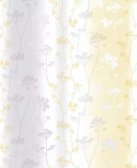 Virágmintás, csíkos dekor tapéta sárga ezüst szürke virág színekkel