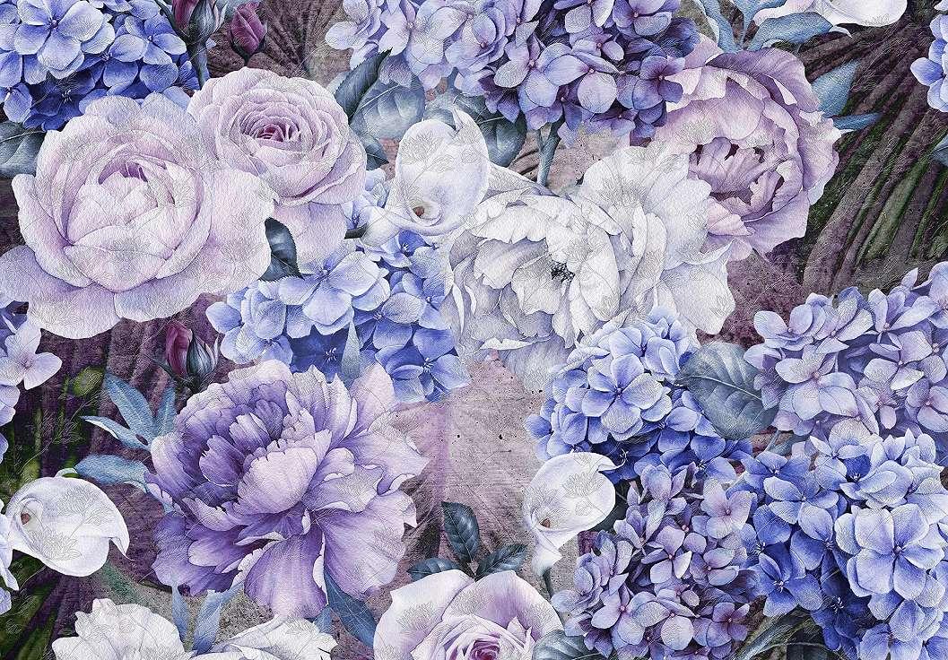 Virágmintás fali poszter kék színvilágban