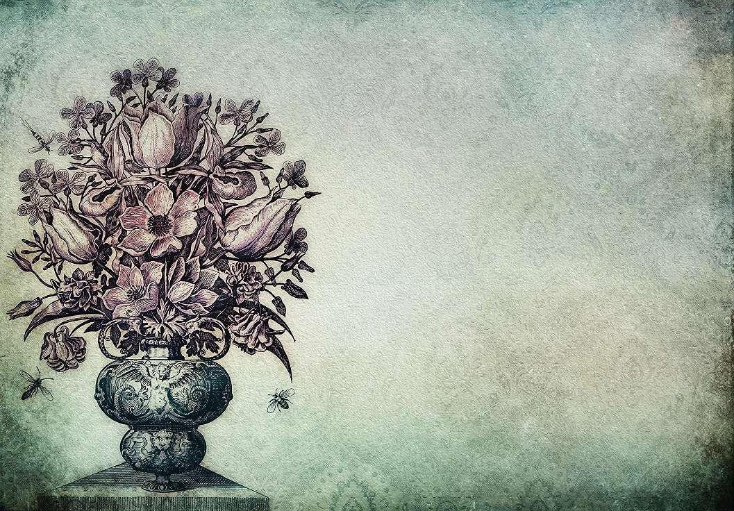 Virágmintás fali poszter klasszikus barokk mintás alapon