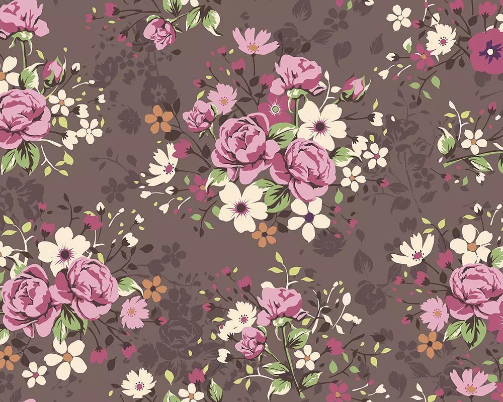 Virágmintás fali poszter rajzolt stílusban