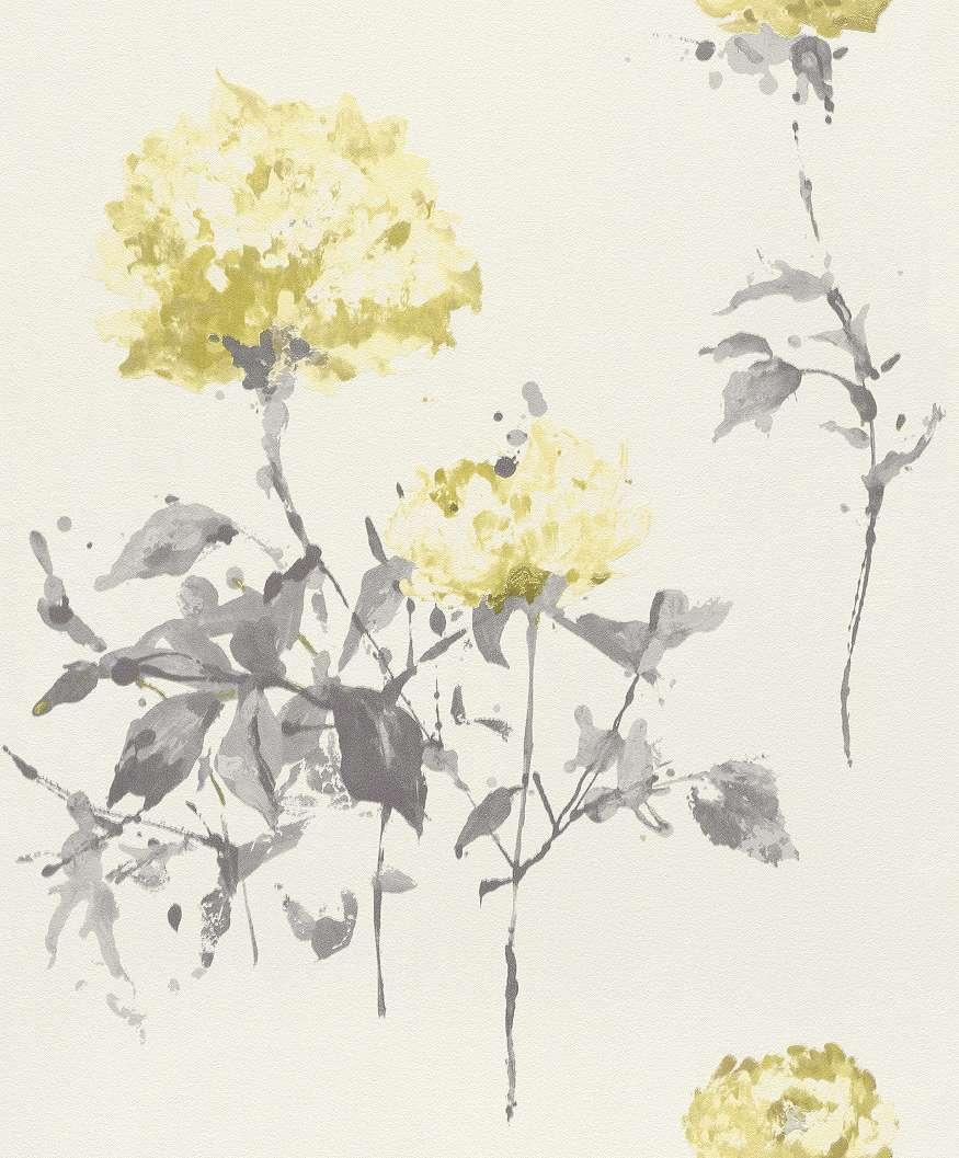 Virágmintás tapéta absztrakt sárga virág mótívummal
