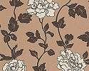 Virágmintás tapéta barna krém színvilágban