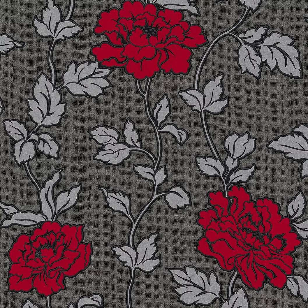 Virágmintás tapéta piros fekete színben