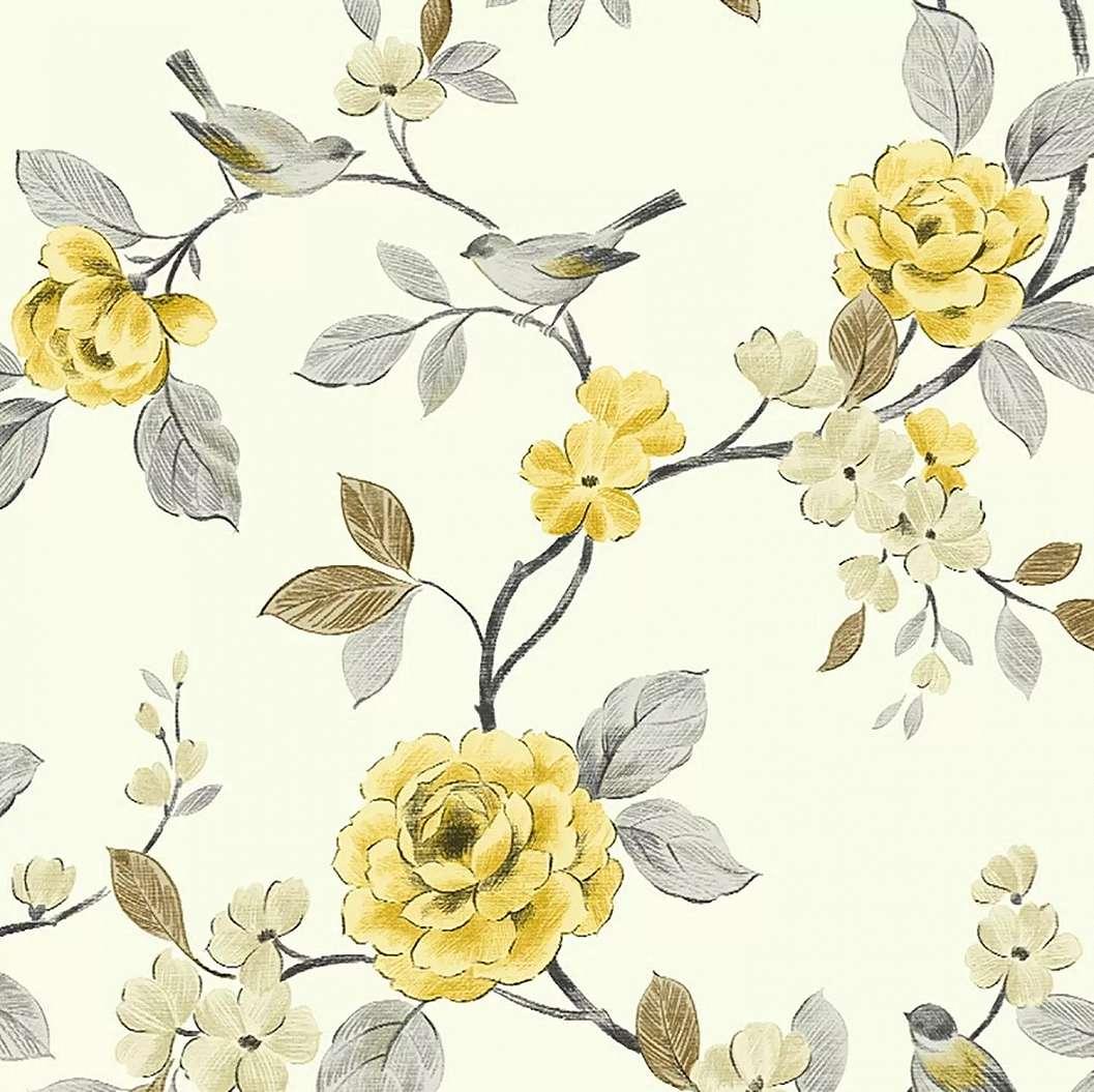 Virágmintás tapéta sárga virág mintával