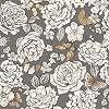 Virágmintás tapéta szürke alapon pillangó mintával
