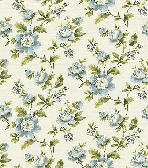 Virágmintás tapéta zöld és kék domináns színekkel