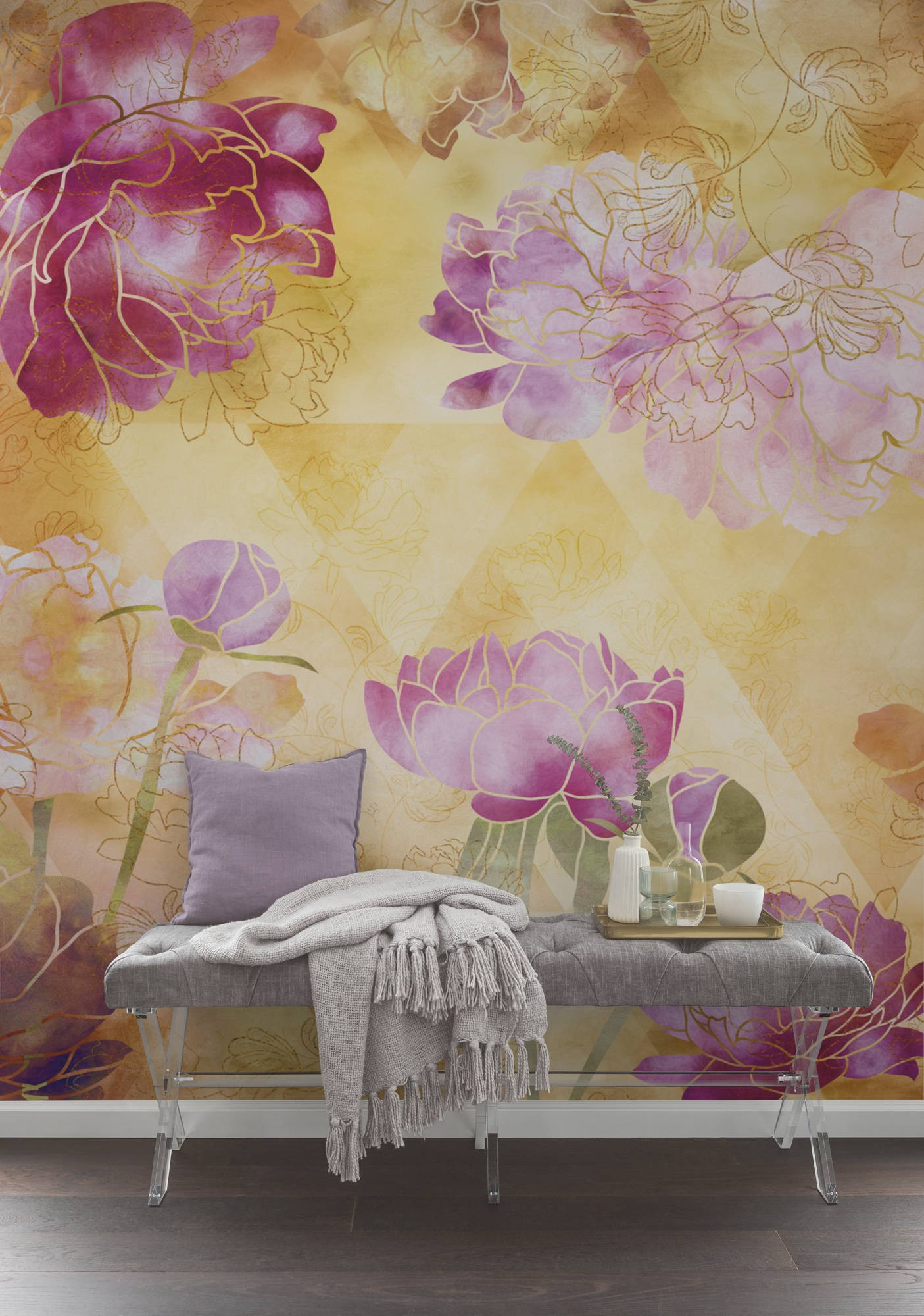 Virágmintás vízfestmény fali poszter