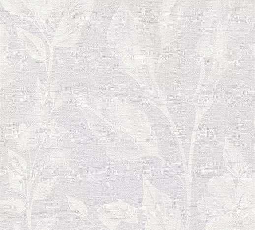 Virágmintás vlies tapéta halvány lila fehér színben textil szőtt hatású alapon