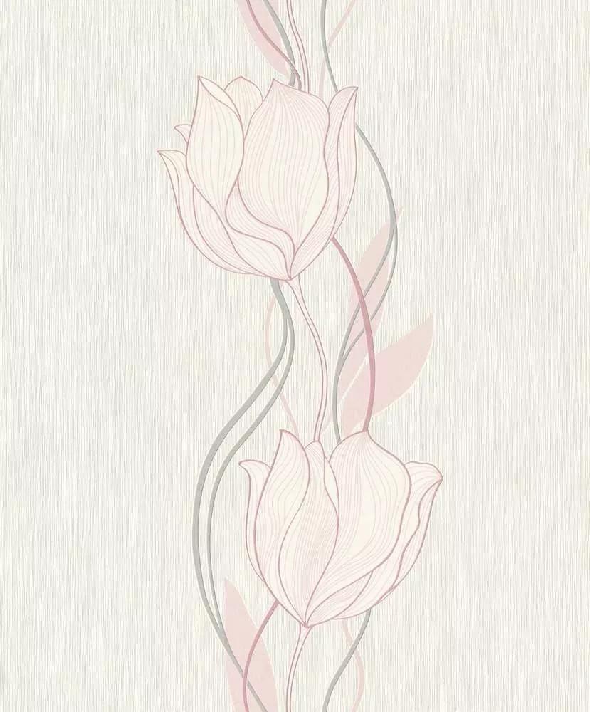 Virágmintás vlies tapéta rózsaszín rajzolt virág mintával
