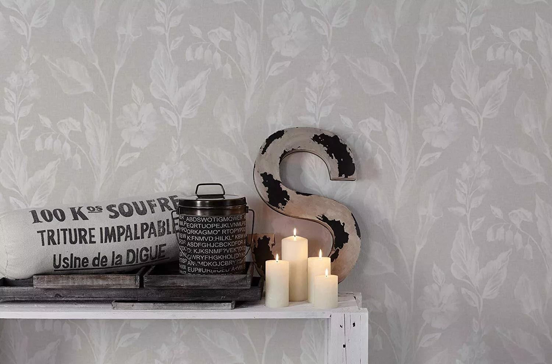 Virgámintás tapéta szürke textil hatású alapon
