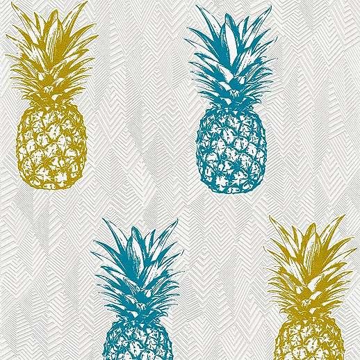 Vlies dekor tapéta arany tűrkíz ananász mintával geometrikus mintás alapon