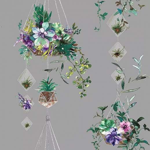 Vlies design tapéta szürke alapon csüngő virágkaspó mintával