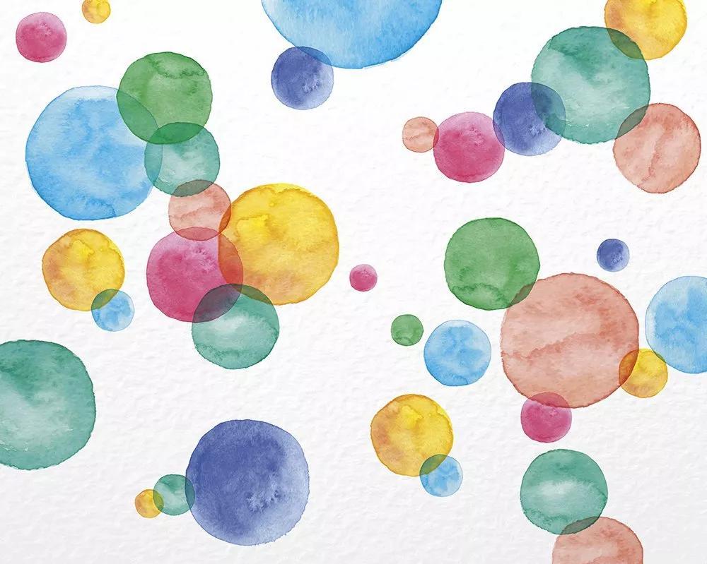 Vlies fali poszter színes vizfesték hatású színes kör mintákkal