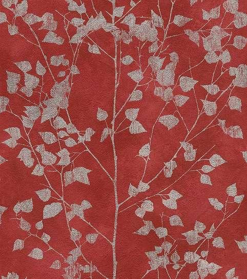 Vörös levélmintás skandináv stílusú vlies tapéta