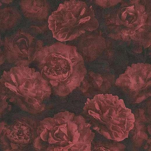 Vörös rózsa mintás vintage hangulatú mosható vinyl tapéta