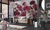 Vörös virágok romantikus fali poszter