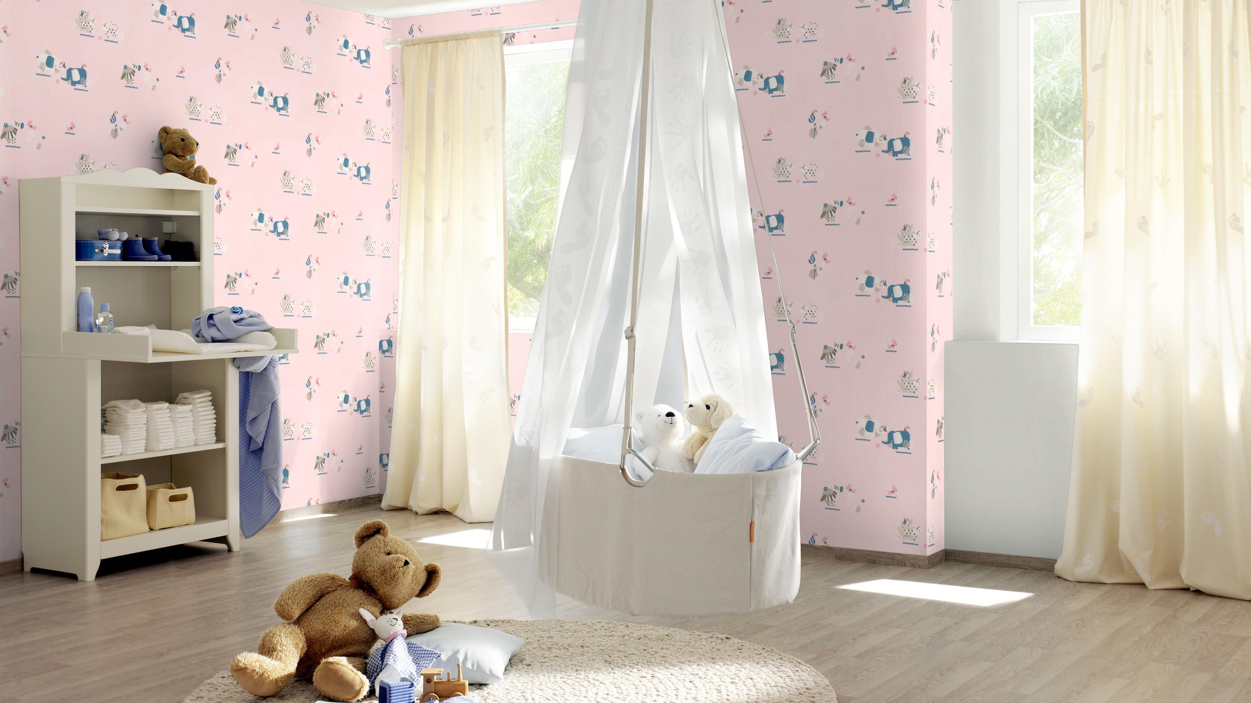 Zebrás elefántos rózsaszín alapú gyerek tapéta