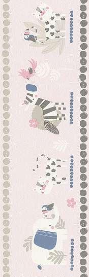 Zebrás elefántos rózsaszín bordűr gyerek szobába