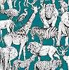 Zöld afrikai állat mintás gyerektapéta, orrszarvú, zebra, elefánt, zsiráf mintával