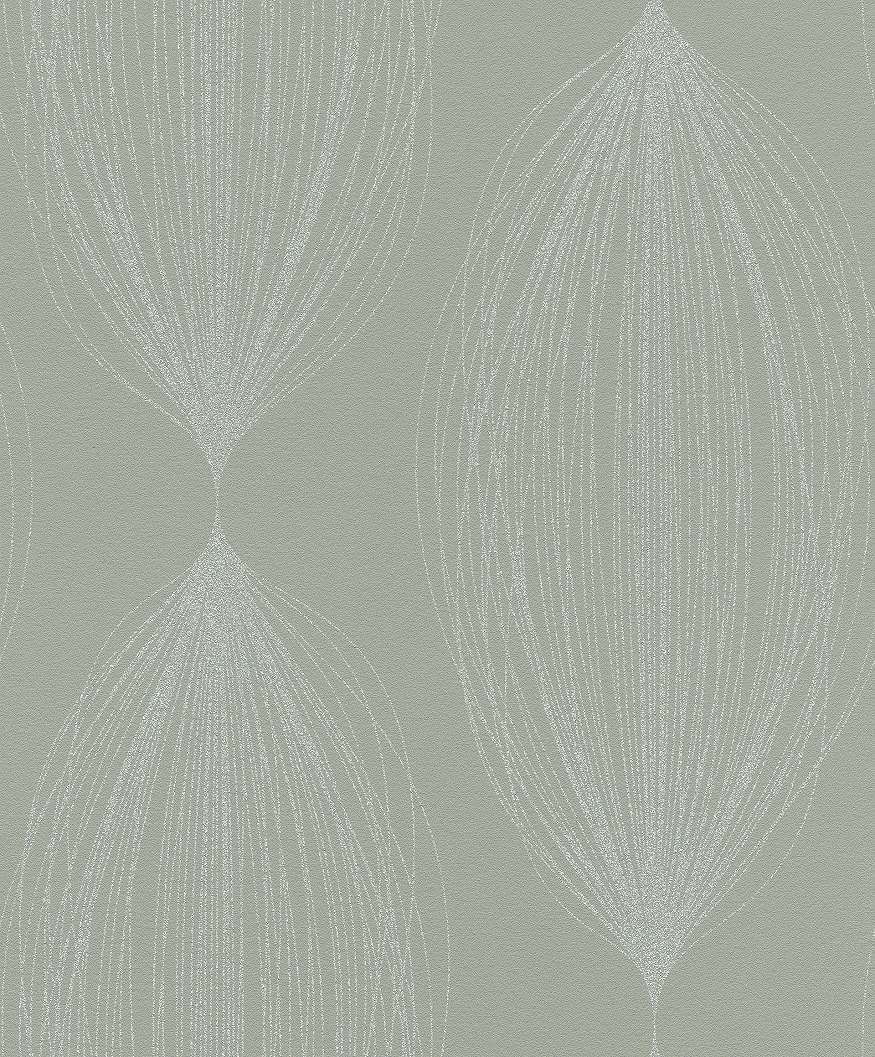 Zöld alapon modern fonal szerű geometriai mintás tapéta