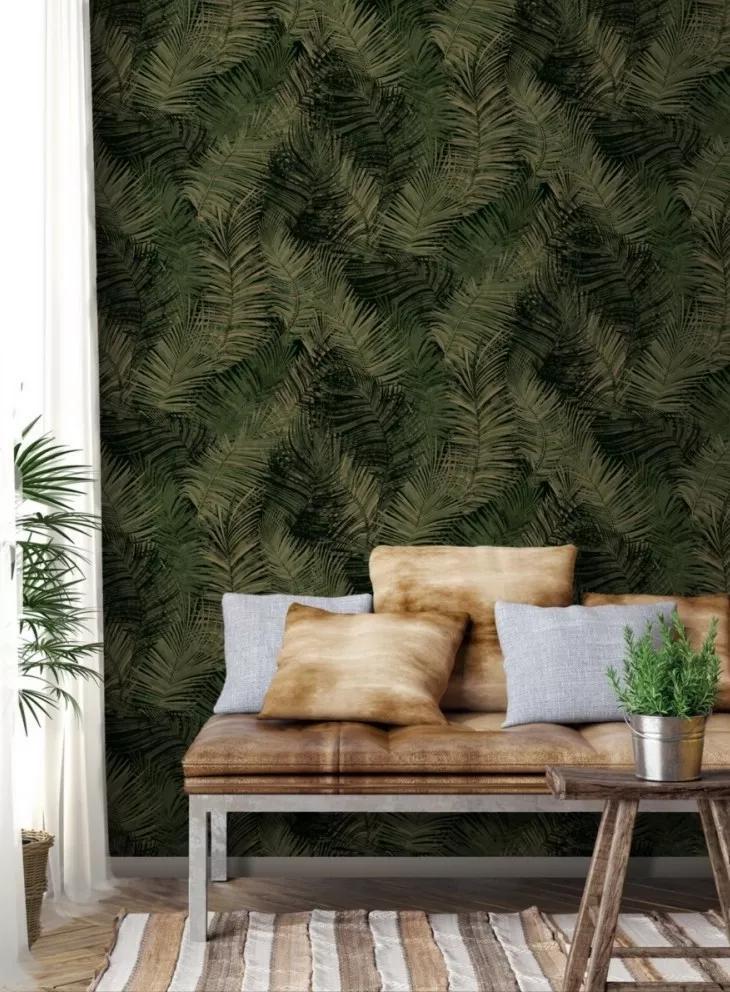 Zöld arany elegáns trópusi hangulatú pálmalevél mintás vlies tapéta