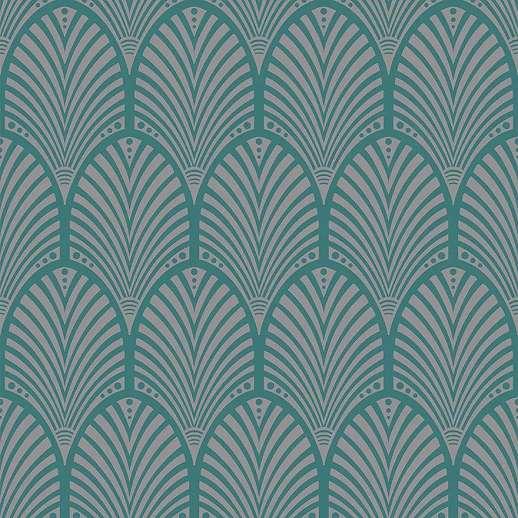Zöld art deco hangulatú tapéta