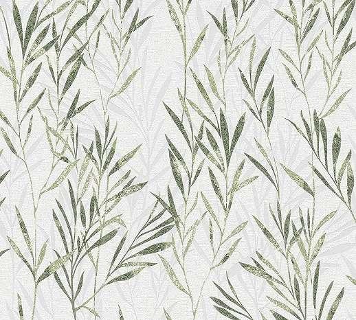 Zöld bambusz levél mintás tapéta
