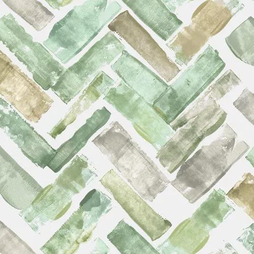 Zöld barna vizfesték hatású geometrikus mintás dekor tapéta