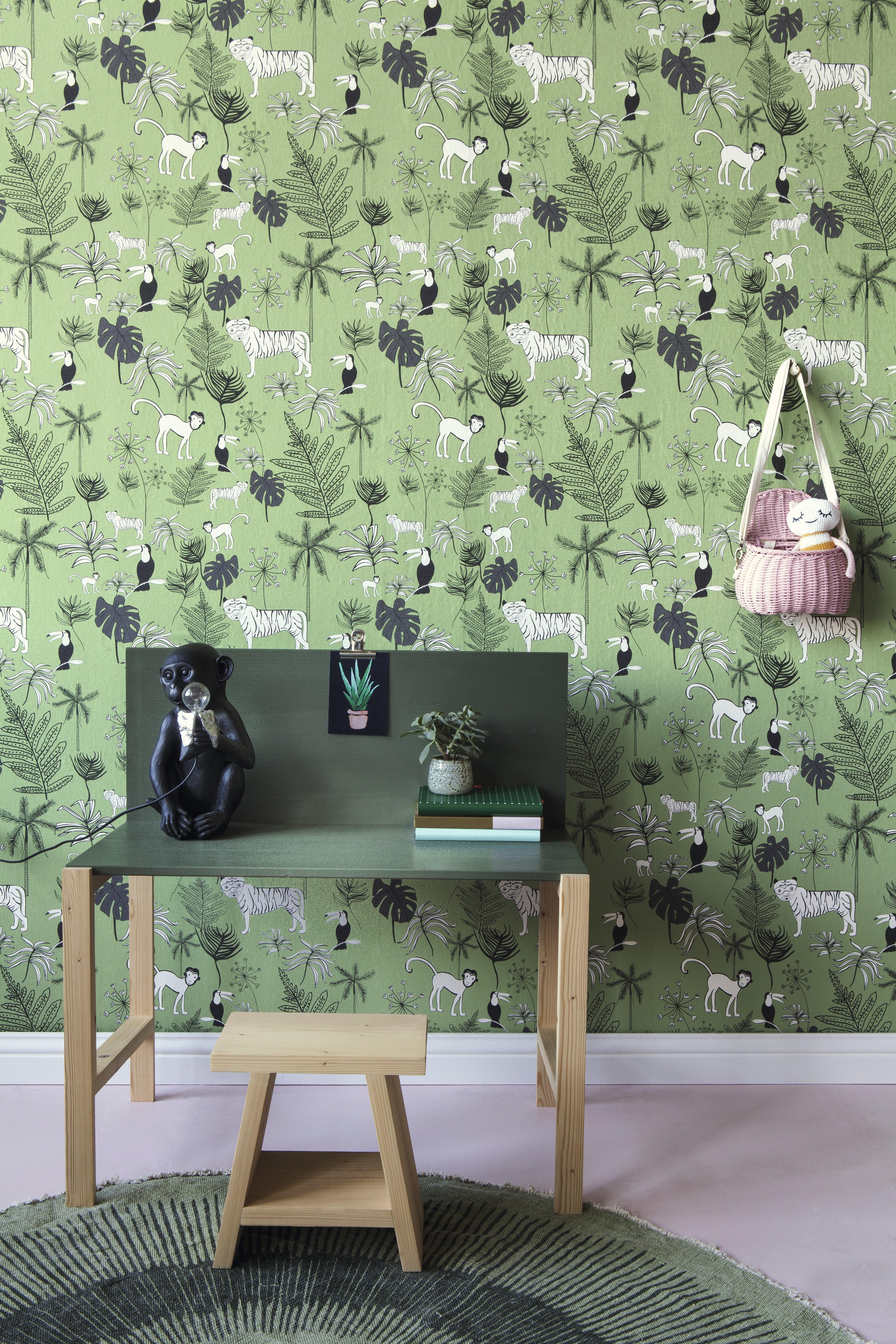 Zöld dzsungel mintás gyerek tapéta