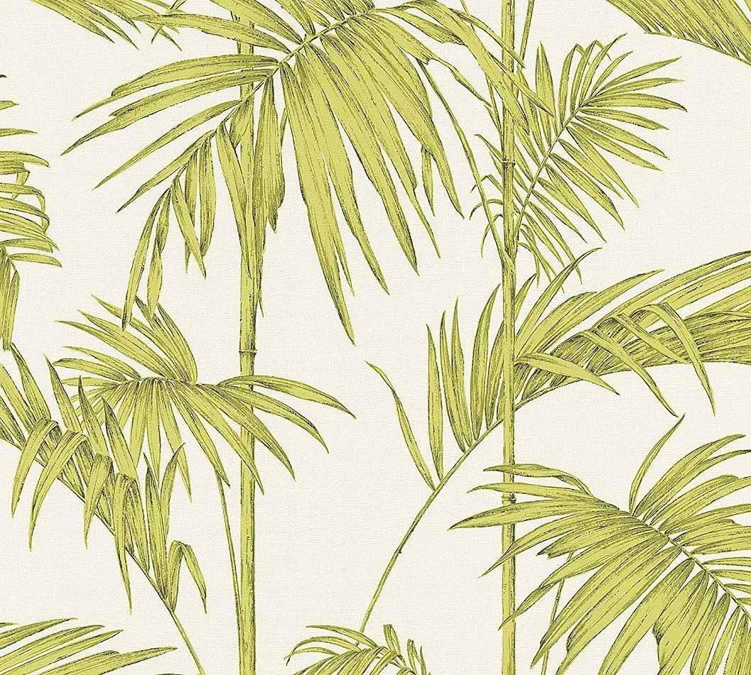 Zöld, krém színű modern trópusi levél mintás vlies tapéta