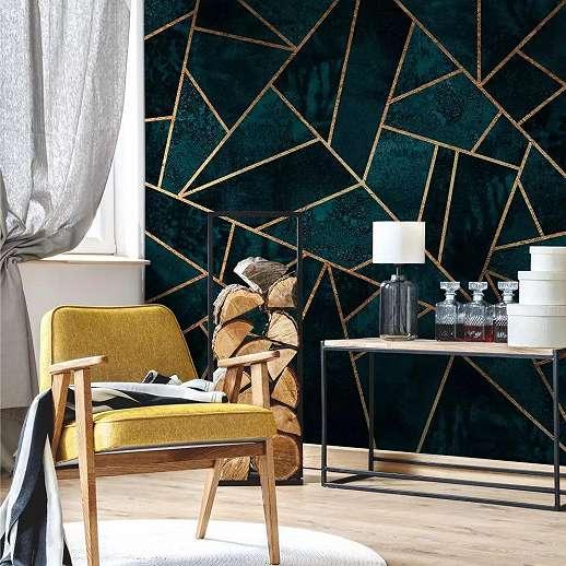 Zöld modern geometrikus mintás fali poszter