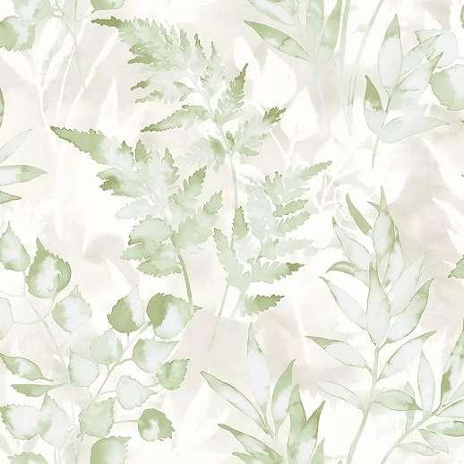 Zöld modern levélmintás vlies tapéta