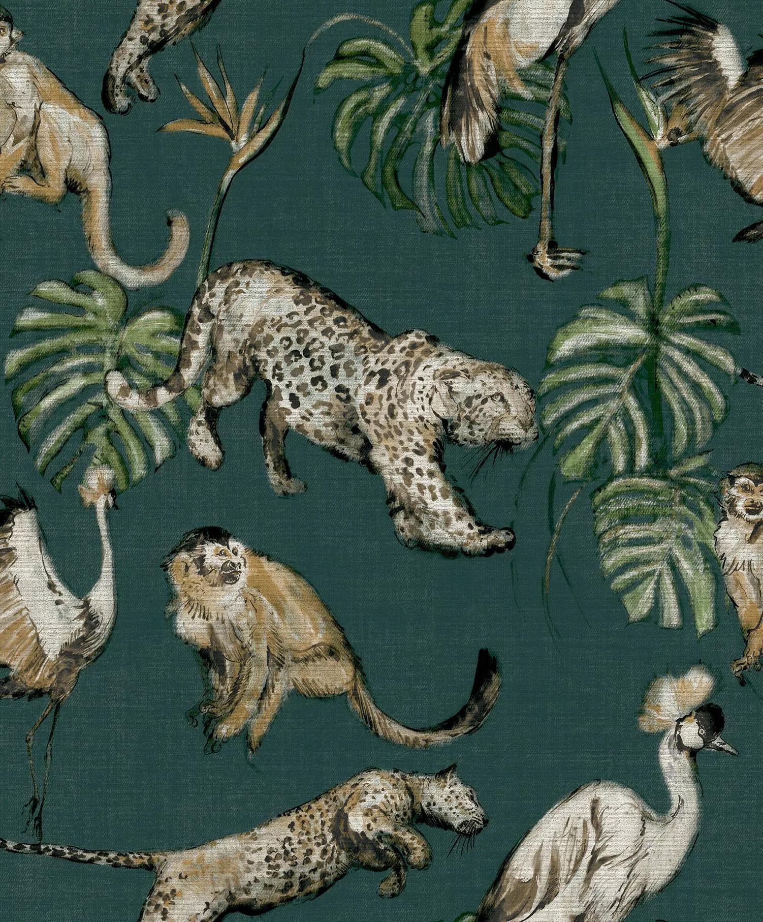Zöld modern tapéta egzotikus állat mintával